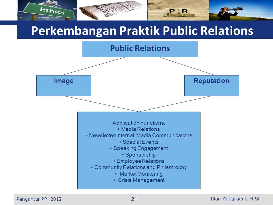 L o g o Perkembangan Praktik Public Relations Public Relations ImageReputation Application Functions: Media Relations Newsletter/Internal Media Commun
