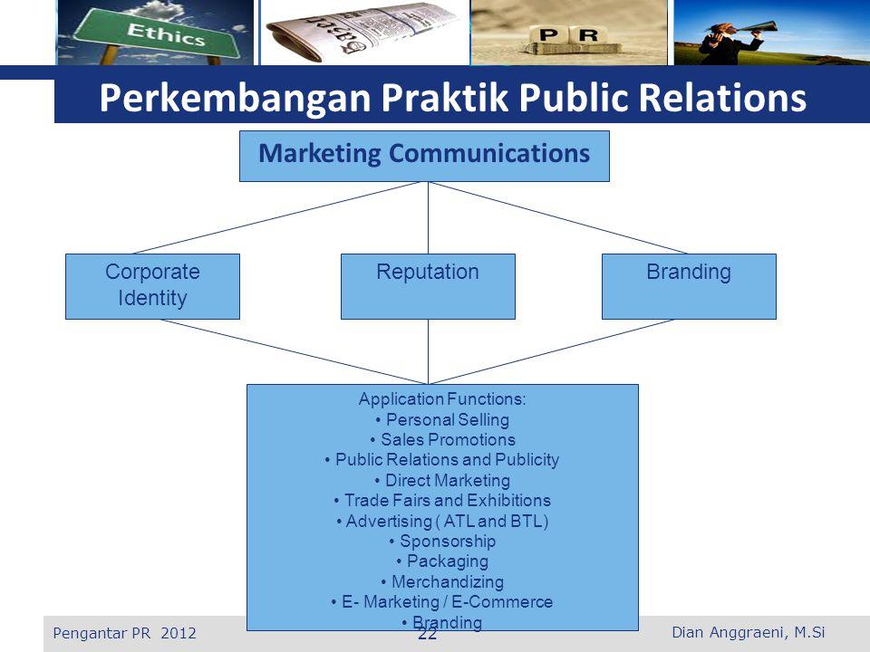 L o g o Perkembangan Praktik Public Relations Marketing Communications Corporate Identity ReputationBranding Application Functions: Personal Selling S