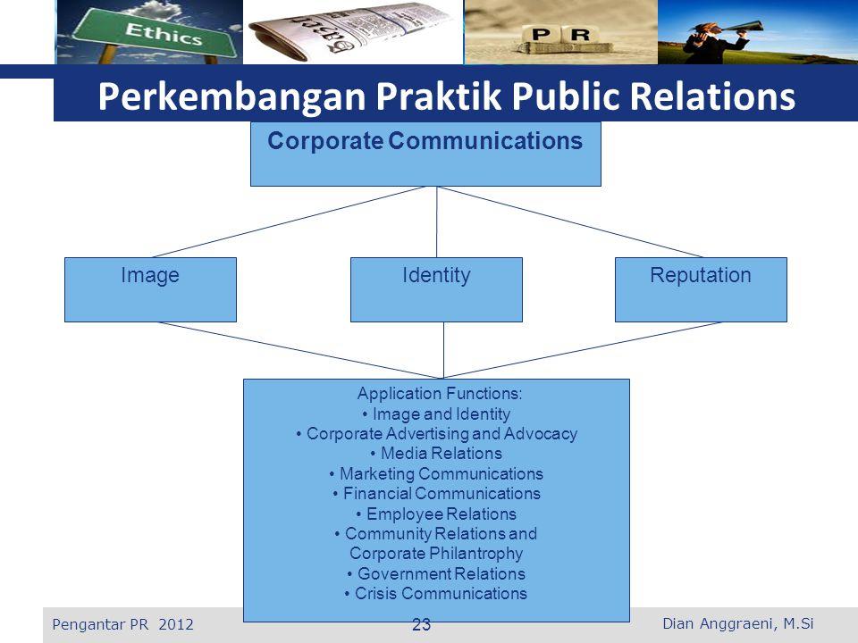 L o g o Perkembangan Praktik Public Relations Corporate Communications ImageIdentityReputation Application Functions: Image and Identity Corporate Adv