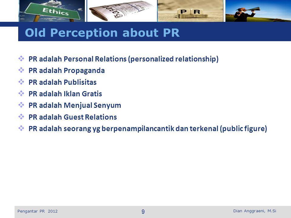 L o g o Perkembangan Praktik Public Relations Dian Anggraeni, M.Si Pengantar PR 2012 Functional Support Management Function Functional Advisor Past Present Future 20