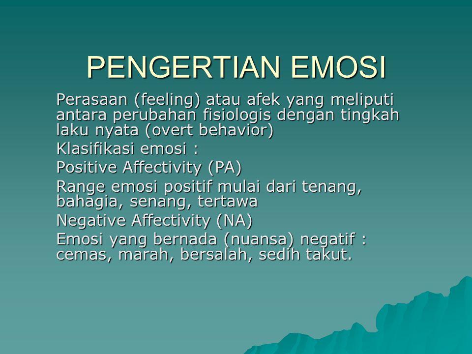 PENGERTIAN EMOSI Perasaan (feeling) atau afek yang meliputi antara perubahan fisiologis dengan tingkah laku nyata (overt behavior) Klasifikasi emosi :