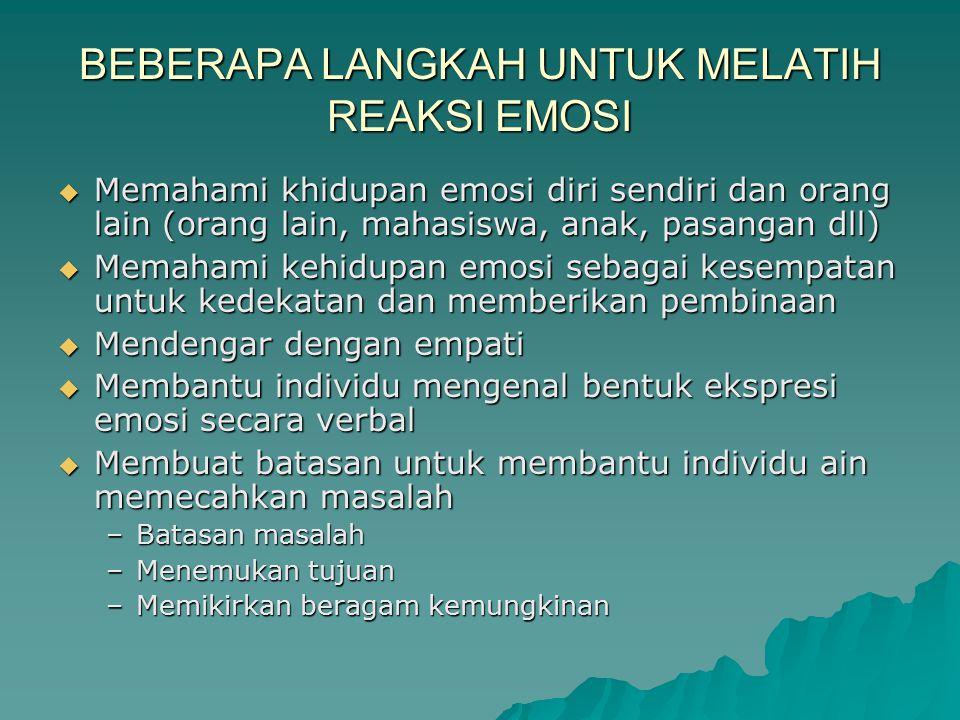 BEBERAPA LANGKAH UNTUK MELATIH REAKSI EMOSI  Memahami khidupan emosi diri sendiri dan orang lain (orang lain, mahasiswa, anak, pasangan dll)  Memaha