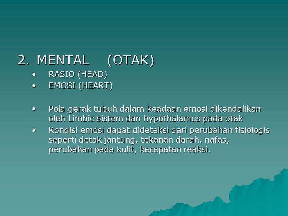 2.MENTAL (OTAK) RASIO (HEAD)RASIO (HEAD) EMOSI (HEART)EMOSI (HEART) Pola gerak tubuh dalam keadaan emosi dikendalikan oleh Limbic sistem dan hypothala