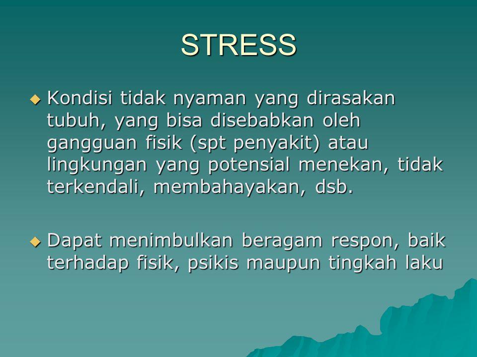 STRESS  Kondisi tidak nyaman yang dirasakan tubuh, yang bisa disebabkan oleh gangguan fisik (spt penyakit) atau lingkungan yang potensial menekan, tidak terkendali, membahayakan, dsb.