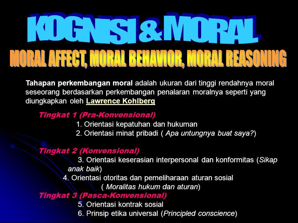 Tahapan perkembangan moral adalah ukuran dari tinggi rendahnya moral seseorang berdasarkan perkembangan penalaran moralnya seperti yang diungkapkan oleh Lawrence KohlbergLawrence Kohlberg Tingkat 1 (Pra-Konvensional) 1.