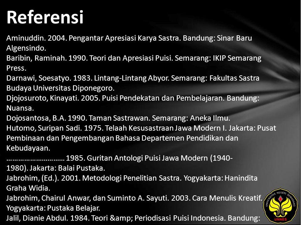 Referensi Aminuddin.2004. Pengantar Apresiasi Karya Sastra.