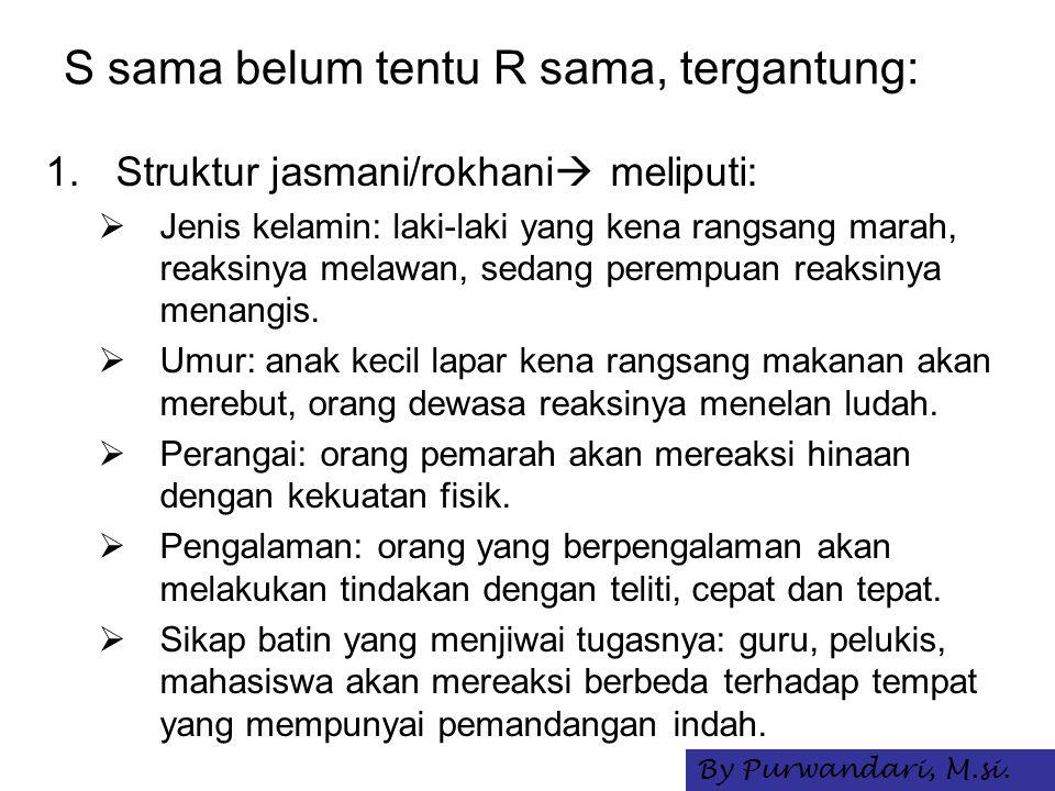 S sama belum tentu R sama, tergantung: 1.Struktur jasmani/rokhani  meliputi:  Jenis kelamin: laki-laki yang kena rangsang marah, reaksinya melawan,