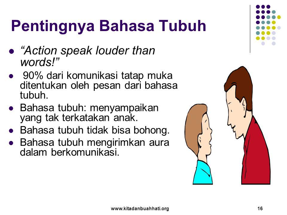 """www.kitadanbuahhati.org 16 Pentingnya Bahasa Tubuh """"Action speak louder than words!"""" 90% dari komunikasi tatap muka ditentukan oleh pesan dari bahasa"""