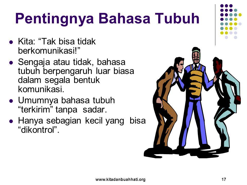 """www.kitadanbuahhati.org 17 Pentingnya Bahasa Tubuh Kita: """"Tak bisa tidak berkomunikasi!"""" Sengaja atau tidak, bahasa tubuh berpengaruh luar biasa dalam"""
