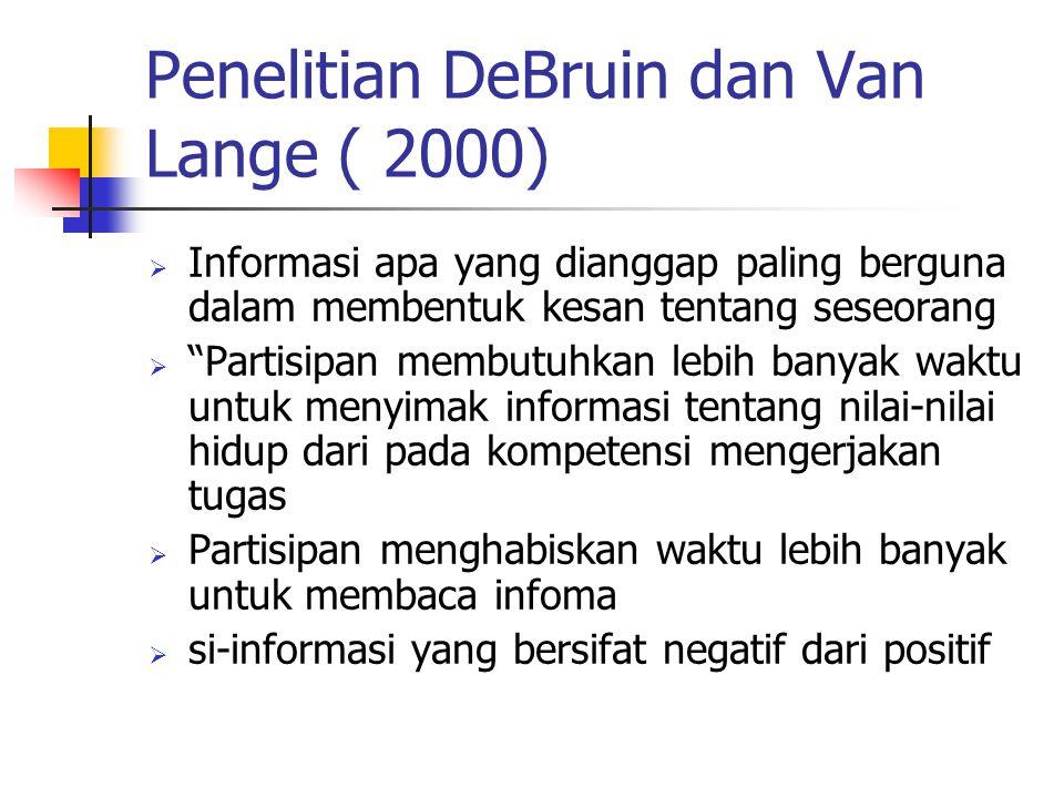 """Penelitian DeBruin dan Van Lange ( 2000)  Informasi apa yang dianggap paling berguna dalam membentuk kesan tentang seseorang  """"Partisipan membutuhka"""