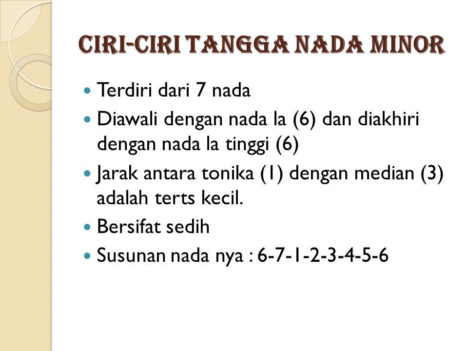 Ciri-ciri Tangga Nada Minor Terdiri dari 7 nada Diawali dengan nada la (6) dan diakhiri dengan nada la tinggi (6) Jarak antara tonika (1) dengan median (3) adalah terts kecil.
