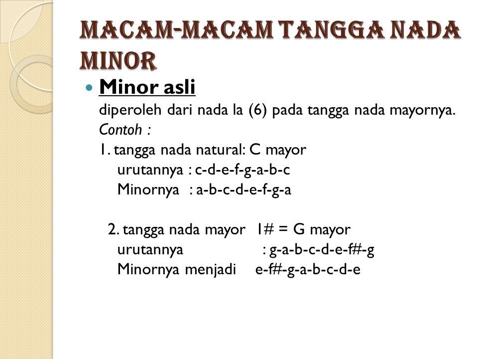 Macam-macam tangga nada minor Minor asli diperoleh dari nada la (6) pada tangga nada mayornya.