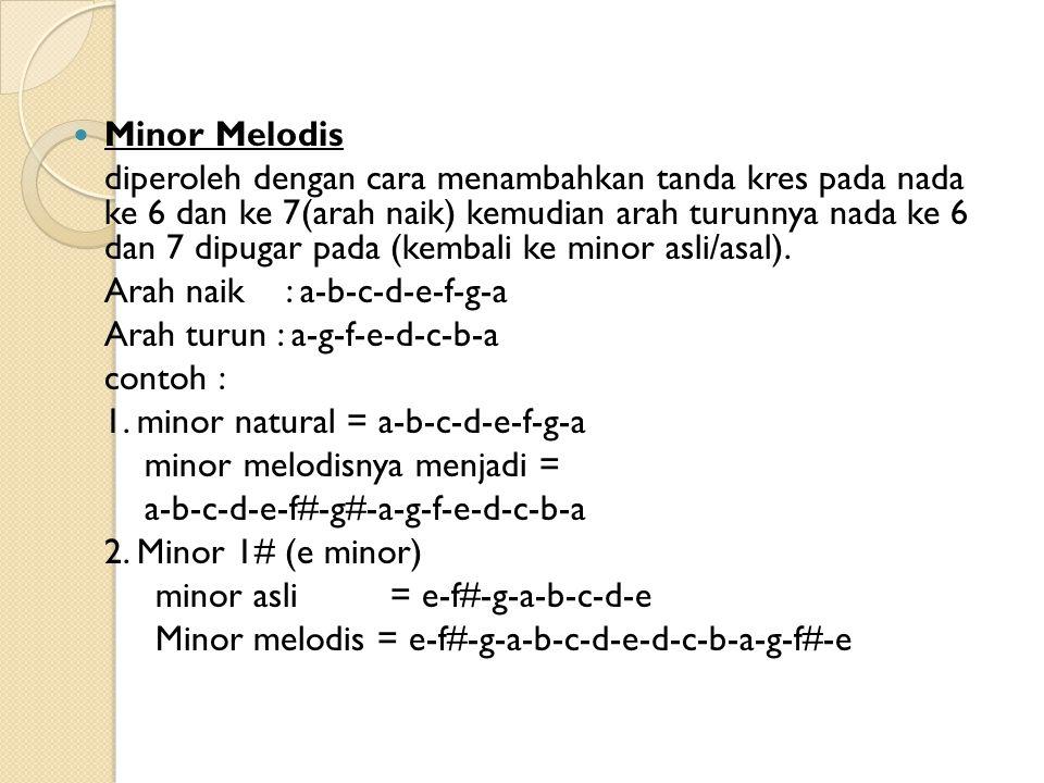 Minor Melodis diperoleh dengan cara menambahkan tanda kres pada nada ke 6 dan ke 7(arah naik) kemudian arah turunnya nada ke 6 dan 7 dipugar pada (kembali ke minor asli/asal).