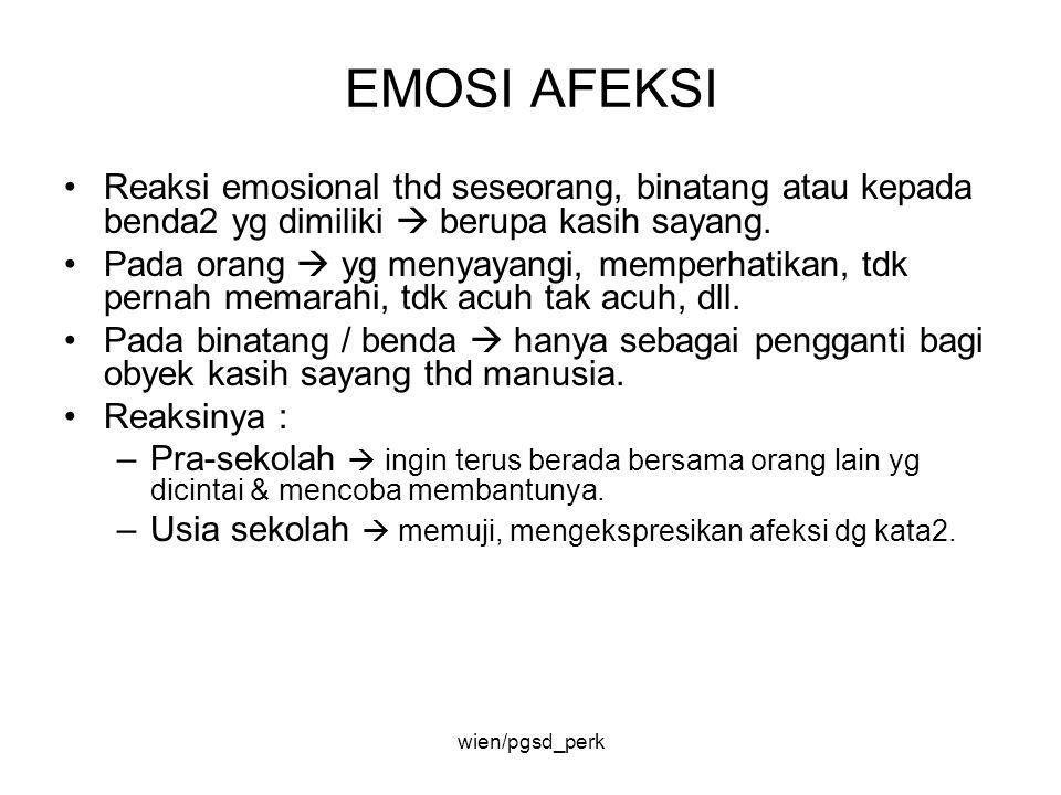EMOSI AFEKSI Reaksi emosional thd seseorang, binatang atau kepada benda2 yg dimiliki  berupa kasih sayang. Pada orang  yg menyayangi, memperhatikan,