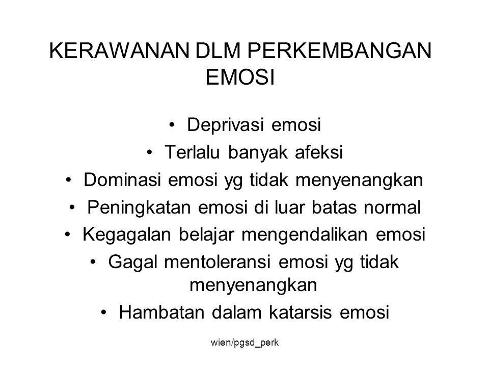 KERAWANAN DLM PERKEMBANGAN EMOSI Deprivasi emosi Terlalu banyak afeksi Dominasi emosi yg tidak menyenangkan Peningkatan emosi di luar batas normal Keg