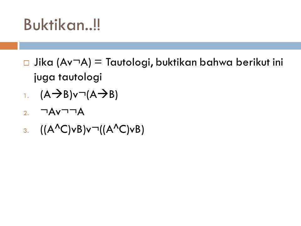 Buktikan..!!  Jika (Av¬A) = Tautologi, buktikan bahwa berikut ini juga tautologi 1. (A  B)v¬(A  B) 2. ¬Av¬¬A 3. ((A^C)vB)v¬((A^C)vB)