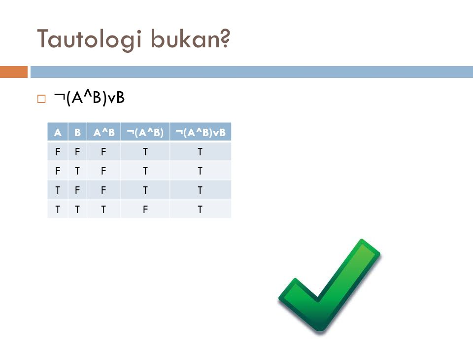 Pembuktian  Jika ¬(A^B)vB = tautologi  Buktikan ¬((AvB)^C)vC juga tautologi  Gunakan skema P dan Q 1.