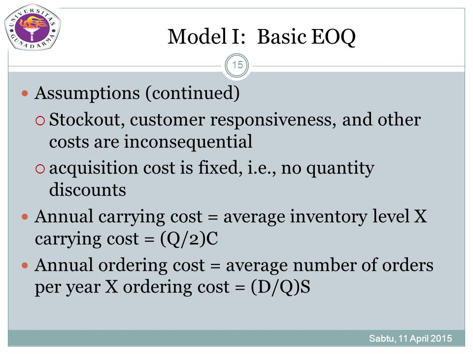 Model I: Basic EOQ Sabtu, 11 April 2015 15 Assumptions (continued)  Stockout, customer responsiveness, and other costs are inconsequential  acquisit