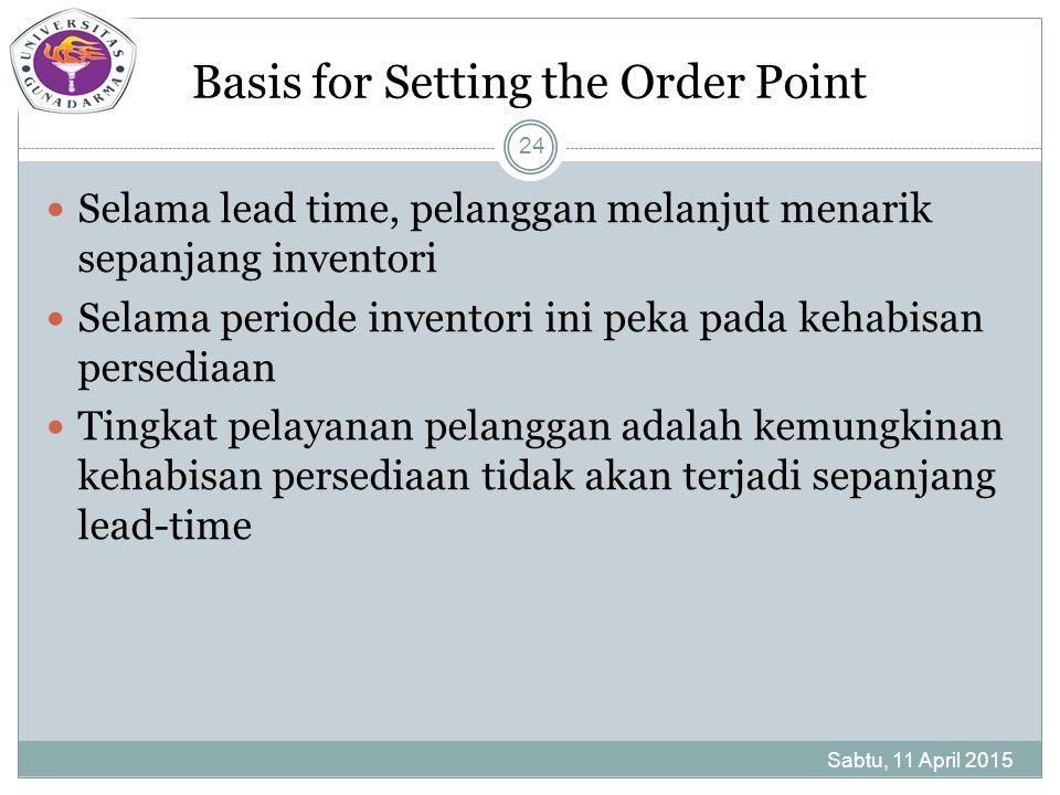 Basis for Setting the Order Point Selama lead time, pelanggan melanjut menarik sepanjang inventori Selama periode inventori ini peka pada kehabisan persediaan Tingkat pelayanan pelanggan adalah kemungkinan kehabisan persediaan tidak akan terjadi sepanjang lead-time Sabtu, 11 April 2015 24
