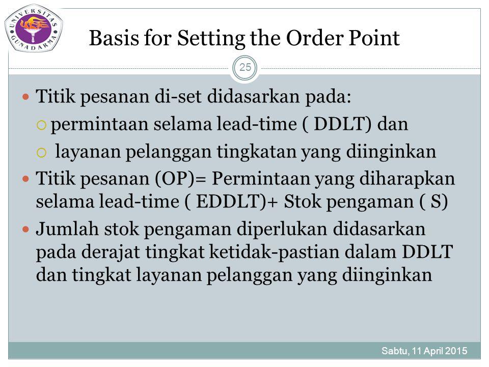 Basis for Setting the Order Point Titik pesanan di-set didasarkan pada:  permintaan selama lead-time ( DDLT) dan  layanan pelanggan tingkatan yang diinginkan Titik pesanan (OP)= Permintaan yang diharapkan selama lead-time ( EDDLT)+ Stok pengaman ( S) Jumlah stok pengaman diperlukan didasarkan pada derajat tingkat ketidak-pastian dalam DDLT dan tingkat layanan pelanggan yang diinginkan Sabtu, 11 April 2015 25