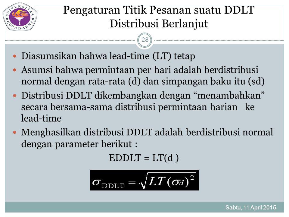 Pengaturan Titik Pesanan suatu DDLT Distribusi Berlanjut Diasumsikan bahwa lead-time (LT) tetap Asumsi bahwa permintaan per hari adalah berdistribusi normal dengan rata-rata (d) dan simpangan baku itu (sd) Distribusi DDLT dikembangkan dengan menambahkan secara bersama-sama distribusi permintaan harian ke lead-time Menghasilkan distribusi DDLT adalah berdistribusi normal dengan parameter berikut : EDDLT = LT(d ) Sabtu, 11 April 2015 28