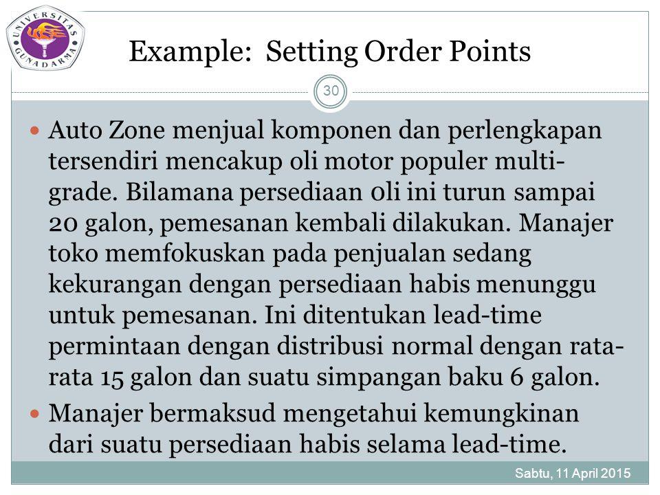 Example: Setting Order Points Auto Zone menjual komponen dan perlengkapan tersendiri mencakup oli motor populer multi- grade.