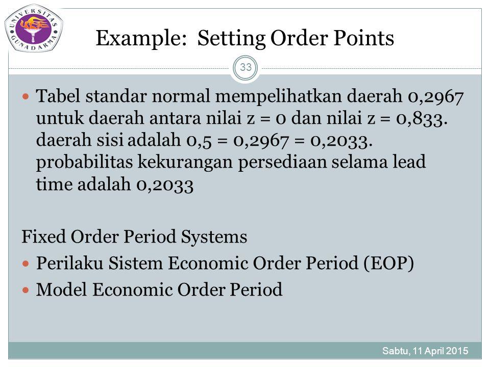 Example: Setting Order Points Tabel standar normal mempelihatkan daerah 0,2967 untuk daerah antara nilai z = 0 dan nilai z = 0,833.