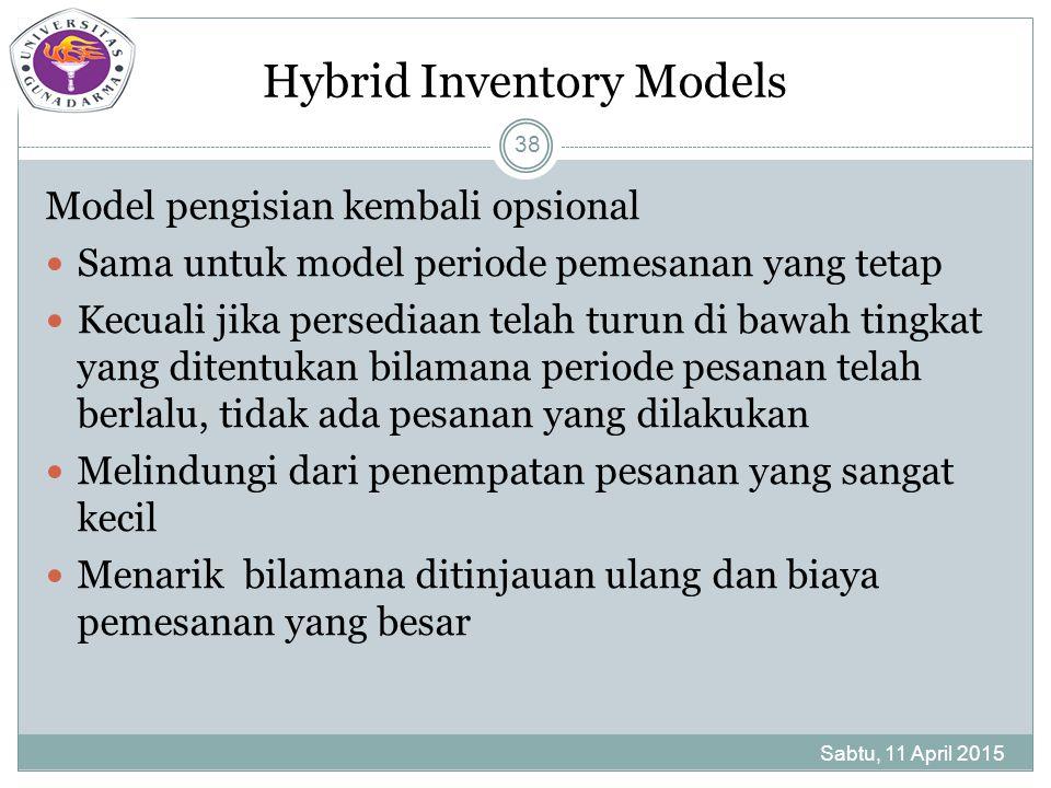 Hybrid Inventory Models Model pengisian kembali opsional Sama untuk model periode pemesanan yang tetap Kecuali jika persediaan telah turun di bawah tingkat yang ditentukan bilamana periode pesanan telah berlalu, tidak ada pesanan yang dilakukan Melindungi dari penempatan pesanan yang sangat kecil Menarik bilamana ditinjauan ulang dan biaya pemesanan yang besar Sabtu, 11 April 2015 38