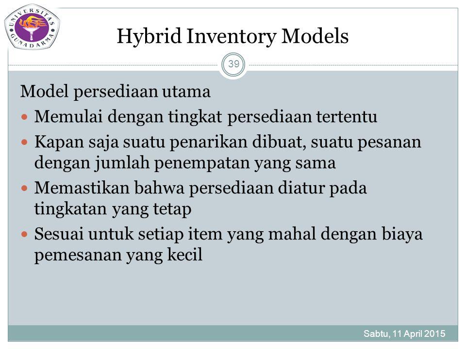 Hybrid Inventory Models Model persediaan utama Memulai dengan tingkat persediaan tertentu Kapan saja suatu penarikan dibuat, suatu pesanan dengan jumlah penempatan yang sama Memastikan bahwa persediaan diatur pada tingkatan yang tetap Sesuai untuk setiap item yang mahal dengan biaya pemesanan yang kecil Sabtu, 11 April 2015 39