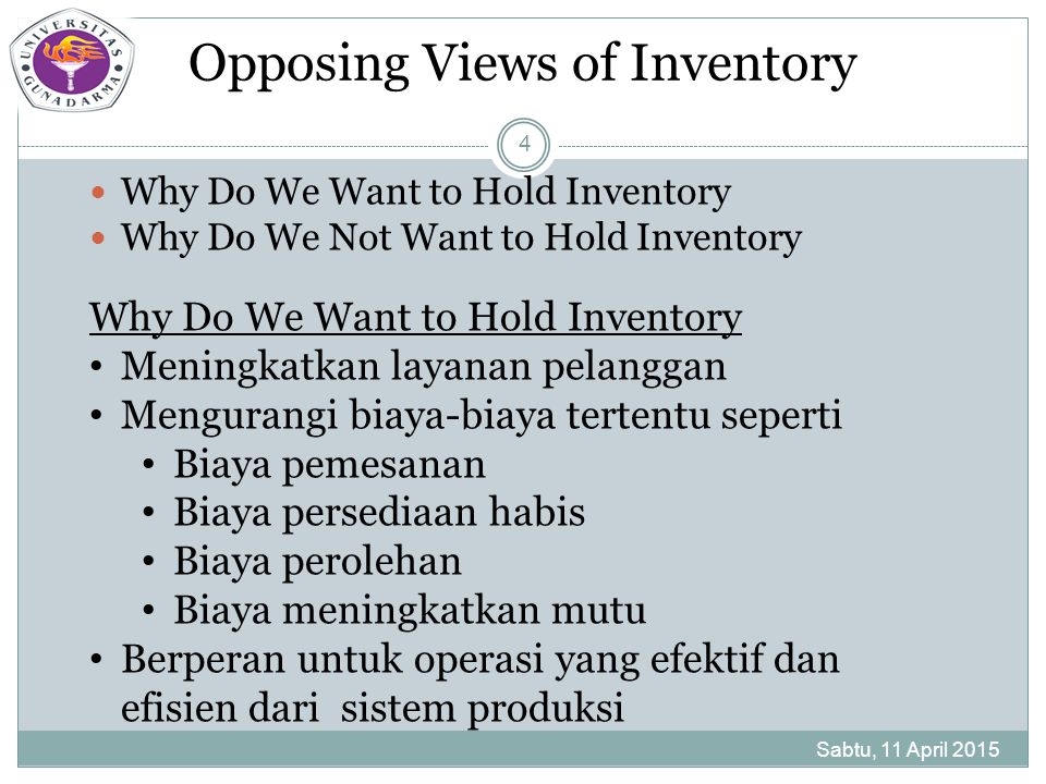 Model I: Basic EOQ Sabtu, 11 April 2015 15 Assumptions (continued)  Stockout, customer responsiveness, and other costs are inconsequential  acquisition cost is fixed, i.e., no quantity discounts Annual carrying cost = average inventory level X carrying cost = (Q/2)C Annual ordering cost = average number of orders per year X ordering cost = (D/Q)S