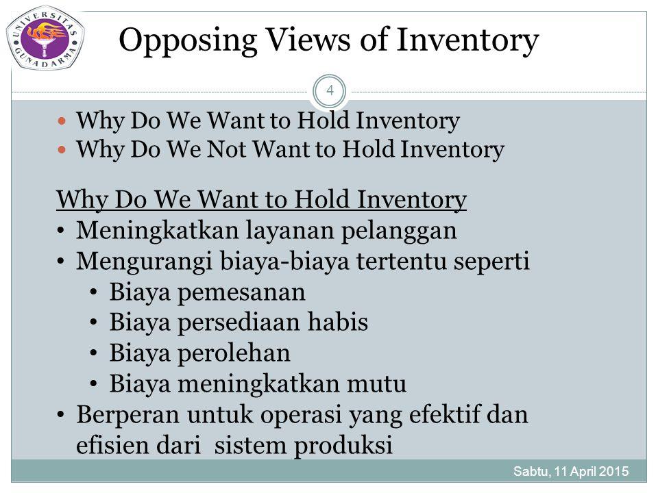 Why We Do Not Want to Hold Inventory Sabtu, 11 April 2015 5 Meningkatkan biaya-Biaya tertentu seperti biaya pergudangan biaya kemampuan reaksi pelanggan biaya koordinasi produksi biaya rasio laba modal reduced-capacity costs biaya memperbesar mutu biaya produksi bermasalah