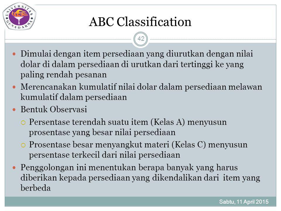 ABC Classification Dimulai dengan item persediaan yang diurutkan dengan nilai dolar di dalam persediaan di urutkan dari tertinggi ke yang paling rendah pesanan Merencanakan kumulatif nilai dolar dalam persediaan melawan kumulatif dalam persediaan Bentuk Observasi  Persentase terendah suatu item (Kelas A) menyusun prosentase yang besar nilai persediaan  Prosentase besar menyangkut materi (Kelas C) menyusun persentase terkecil dari nilai persediaan Penggolongan ini menentukan berapa banyak yang harus diberikan kepada persediaan yang dikendalikan dari item yang berbeda Sabtu, 11 April 2015 42
