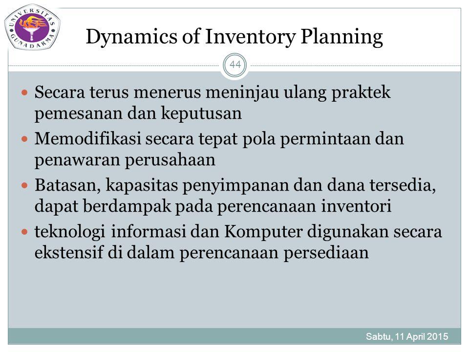 Dynamics of Inventory Planning Secara terus menerus meninjau ulang praktek pemesanan dan keputusan Memodifikasi secara tepat pola permintaan dan penawaran perusahaan Batasan, kapasitas penyimpanan dan dana tersedia, dapat berdampak pada perencanaan inventori teknologi informasi dan Komputer digunakan secara ekstensif di dalam perencanaan persediaan Sabtu, 11 April 2015 44