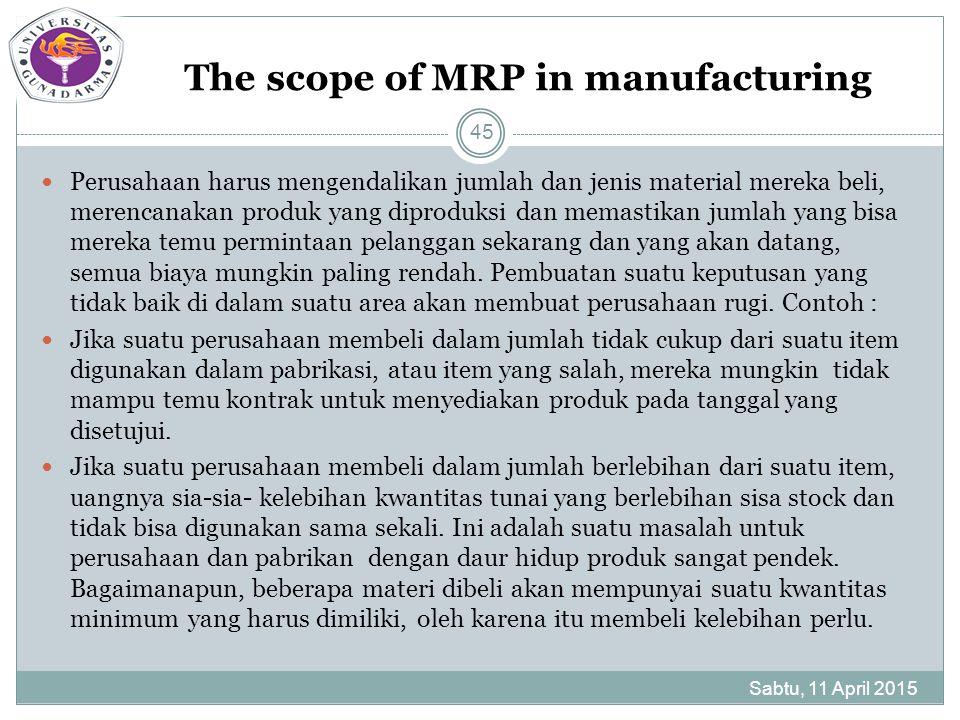 The scope of MRP in manufacturing Perusahaan harus mengendalikan jumlah dan jenis material mereka beli, merencanakan produk yang diproduksi dan memastikan jumlah yang bisa mereka temu permintaan pelanggan sekarang dan yang akan datang, semua biaya mungkin paling rendah.