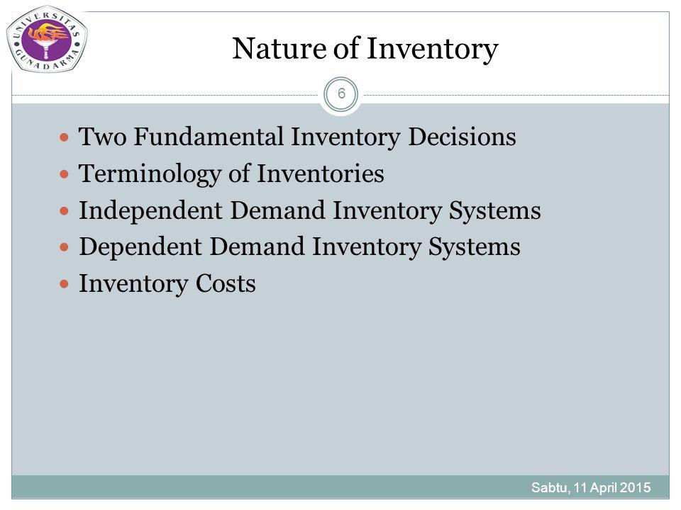 Two Fundamental Inventory Decisions Sabtu, 11 April 2015 7 Berapa banyak untuk memesan tiap material bilamana pesanan dilakukan baik para penyalur di luar maupun di dalam organisasi departemen produksi Bilamana pesanan dilakukan
