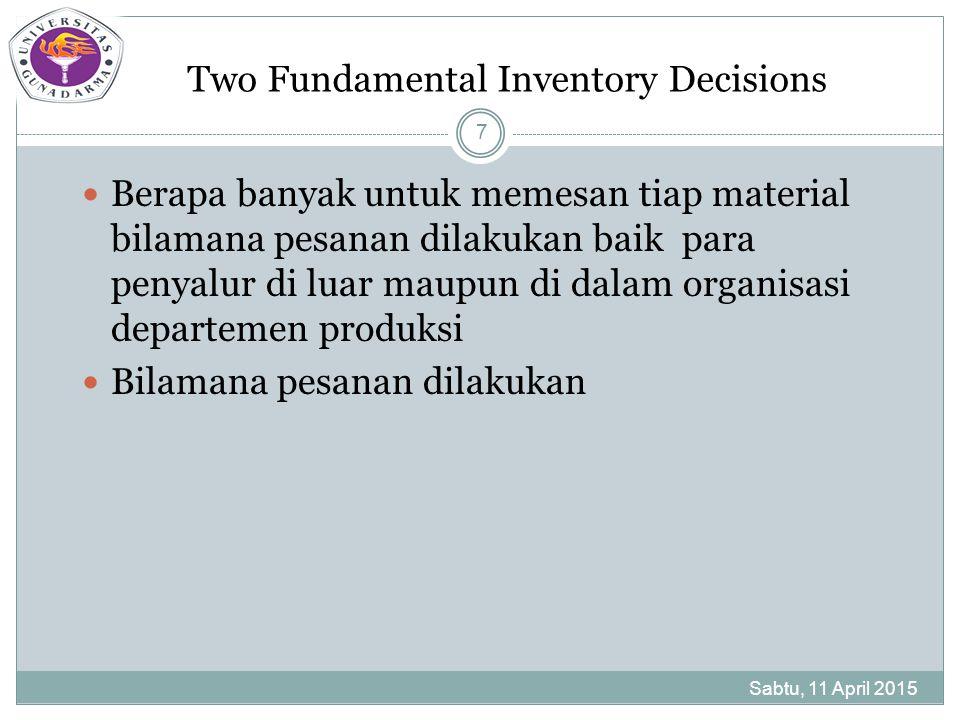 Independent Demand Inventory Systems Sabtu, 11 April 2015 8 Permintaan untuk suatu item di dalam persediaan tidak tergantung pada permintaan pada item dalam persediaan.