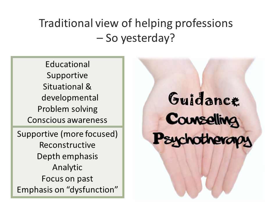 Traditional view of helping professions – So yesterday? Educational Supportive Situational & developmental Problem solving Conscious awareness Focus o