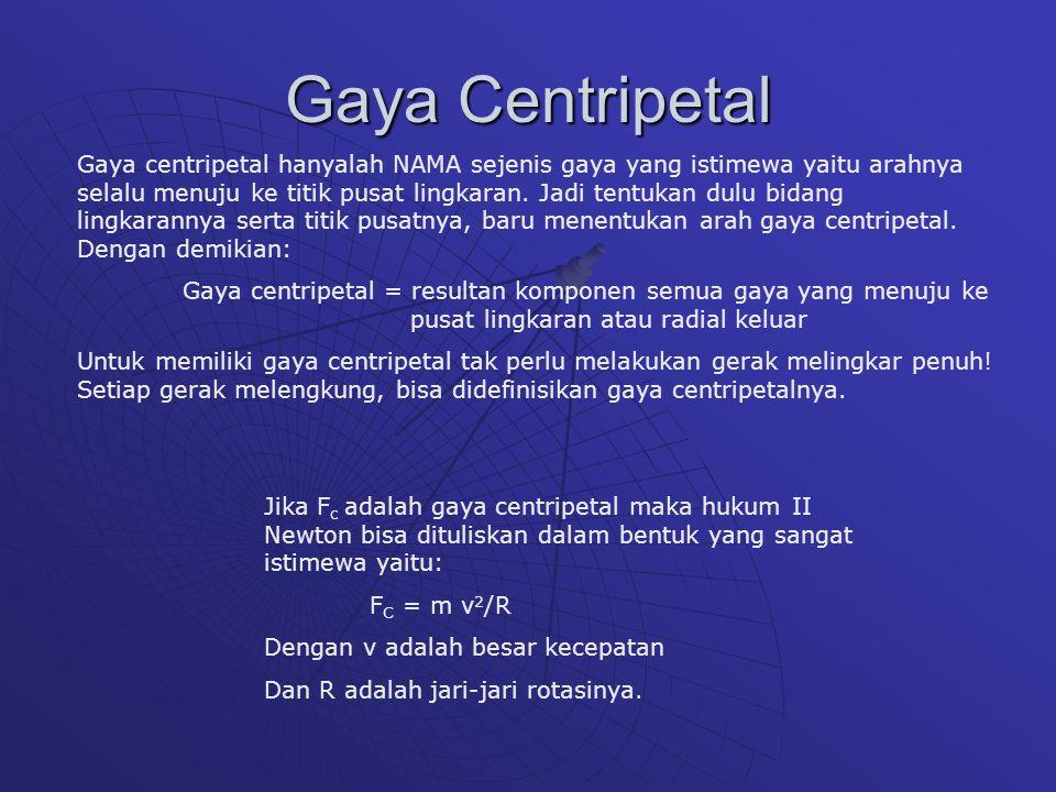 Gaya Centripetal Gaya centripetal hanyalah NAMA sejenis gaya yang istimewa yaitu arahnya selalu menuju ke titik pusat lingkaran. Jadi tentukan dulu bi