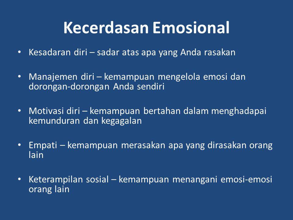 Kecerdasan Emosional Kesadaran diri – sadar atas apa yang Anda rasakan Manajemen diri – kemampuan mengelola emosi dan dorongan-dorongan Anda sendiri M