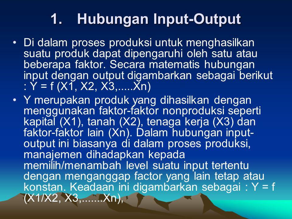 1.Hubungan Input-Output Di dalam proses produksi untuk menghasilkan suatu produk dapat dipengaruhi oleh satu atau beberapa faktor.