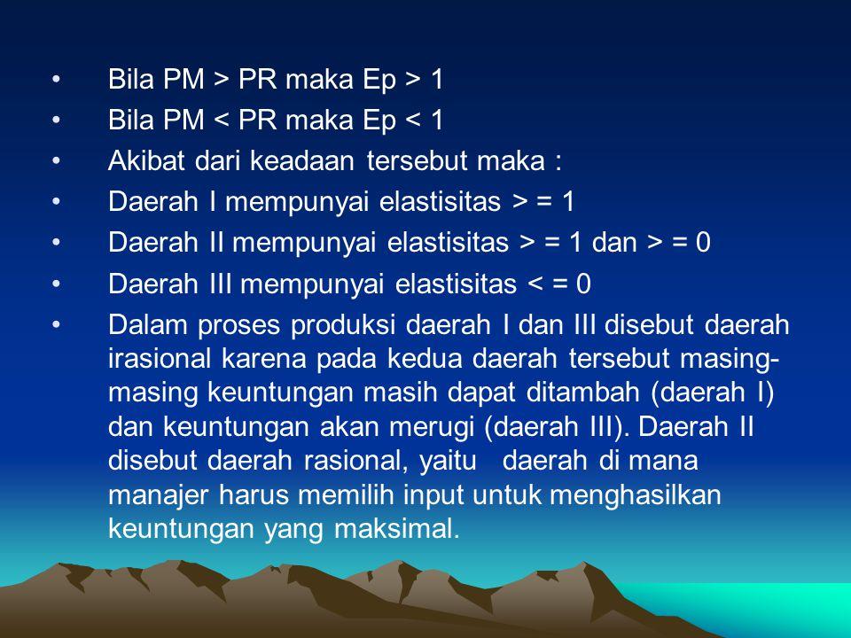 Bila PM > PR maka Ep > 1 Bila PM < PR maka Ep < 1 Akibat dari keadaan tersebut maka : Daerah I mempunyai elastisitas > = 1 Daerah II mempunyai elastisitas > = 1 dan > = 0 Daerah III mempunyai elastisitas < = 0 Dalam proses produksi daerah I dan III disebut daerah irasional karena pada kedua daerah tersebut masing- masing keuntungan masih dapat ditambah (daerah I) dan keuntungan akan merugi (daerah III).
