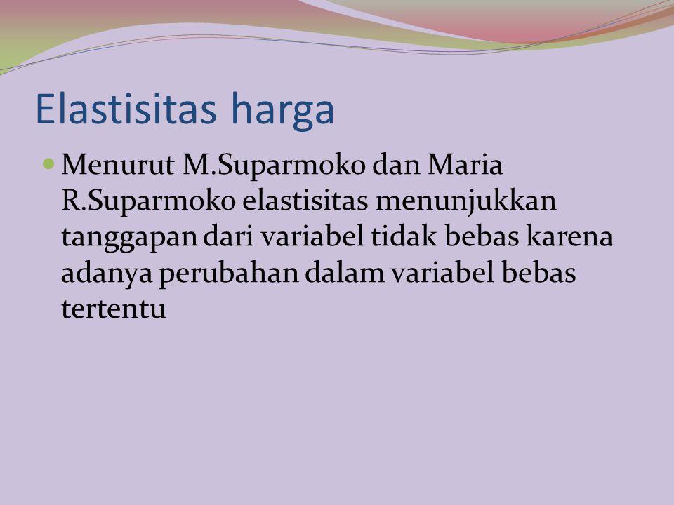 Elastisitas harga Menurut M.Suparmoko dan Maria R.Suparmoko elastisitas menunjukkan tanggapan dari variabel tidak bebas karena adanya perubahan dalam variabel bebas tertentu