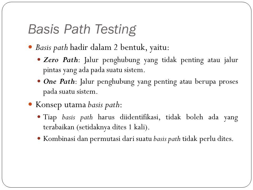 Basis Path Testing Basis path hadir dalam 2 bentuk, yaitu: Zero Path: Jalur penghubung yang tidak penting atau jalur pintas yang ada pada suatu sistem