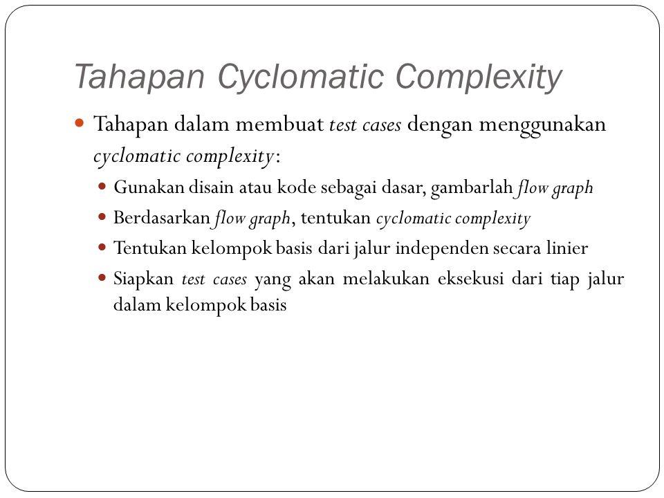Tahapan Cyclomatic Complexity Tahapan dalam membuat test cases dengan menggunakan cyclomatic complexity: Gunakan disain atau kode sebagai dasar, gamba