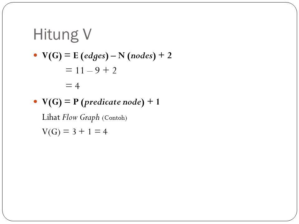 Hitung V V(G) = E (edges) – N (nodes) + 2 = 11 – 9 + 2 = 4 V(G) = P (predicate node) + 1 Lihat Flow Graph (Contoh) V(G) = 3 + 1 = 4