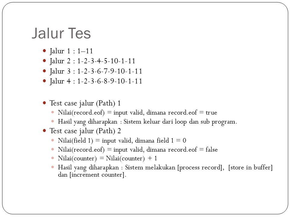 Jalur Tes Jalur 1 : 1–11 Jalur 2 : 1-2-3-4-5-10-1-11 Jalur 3 : 1-2-3-6-7-9-10-1-11 Jalur 4 : 1-2-3-6-8-9-10-1-11 Test case jalur (Path) 1 Nilai(record