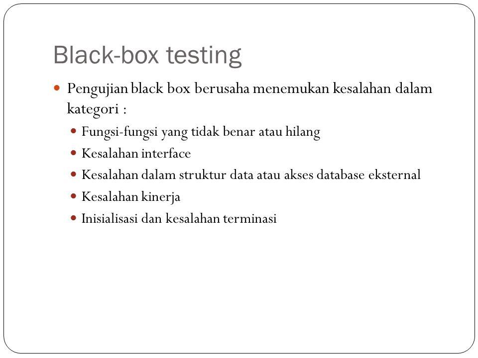 Pengujian black box berusaha menemukan kesalahan dalam kategori : Fungsi-fungsi yang tidak benar atau hilang Kesalahan interface Kesalahan dalam struk