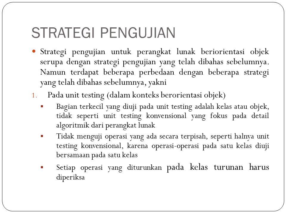 STRATEGI PENGUJIAN Strategi pengujian untuk perangkat lunak beriorientasi objek serupa dengan strategi pengujian yang telah dibahas sebelumnya. Namun