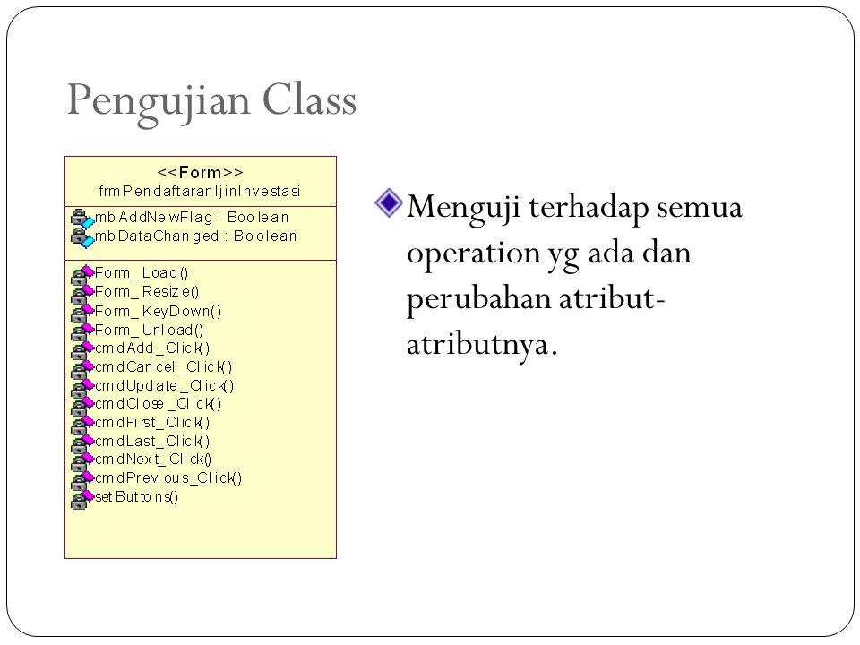 Pengujian Class Menguji terhadap semua operation yg ada dan perubahan atribut- atributnya.