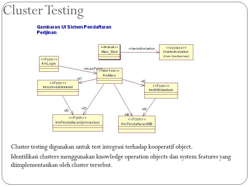 Cluster Testing Cluster testing digunakan untuk test integrasi terhadap kooperatif object. Identifikasi clusters menggunakan knowledge operation objec